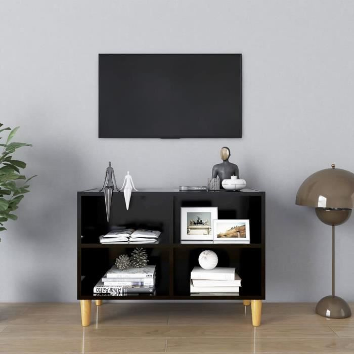 ETO- Meuble TV avec pieds en bois massif Noir 69,5x30x50 cm