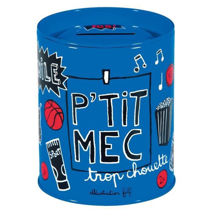 Tirelire PETIT MEC En Métal Bleu - Rangement Déco Chambre Idée Cadeau Original Pour Enfant Bébé Garçon - Dlp Derrière La Porte