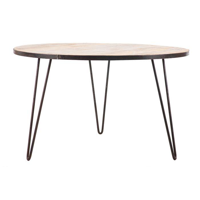 Miliboo - Table à manger ronde industrielle bois métal ATELIER