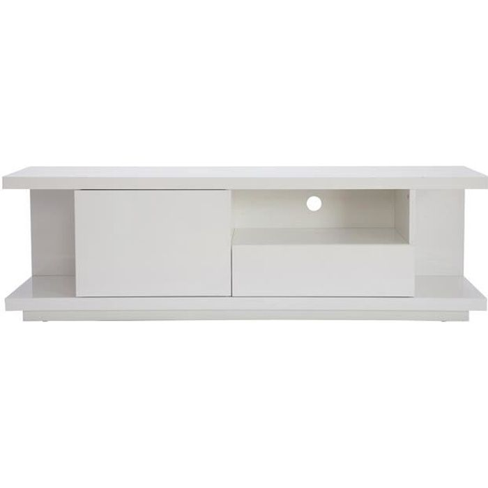 Miliboo - Meuble TV design blanc laqué brillant L150 cm KARY