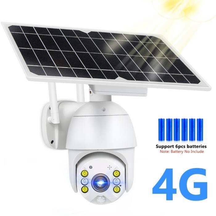 Caméra de surveillance extérieure 8W à dôme et panneau solaire, 1080P carte SIM 4G, Wi-Fi, PTZ, moniteur de sécurité intelligent H.2