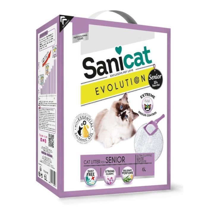 SANICAT Litière Evolution Senior 6L - Pour chat senior
