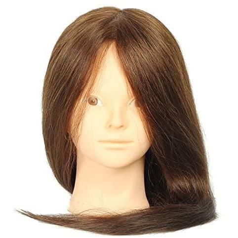 55cm Marron Tête de mannequin 100% cheveux synthétique Tête de coiffer professionnel pour coiffeur Tête d'entraînement pour Pratique