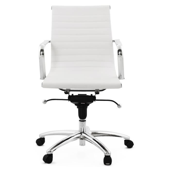 fauteuil de bureau design 39 mega 39 en pu blanc achat. Black Bedroom Furniture Sets. Home Design Ideas
