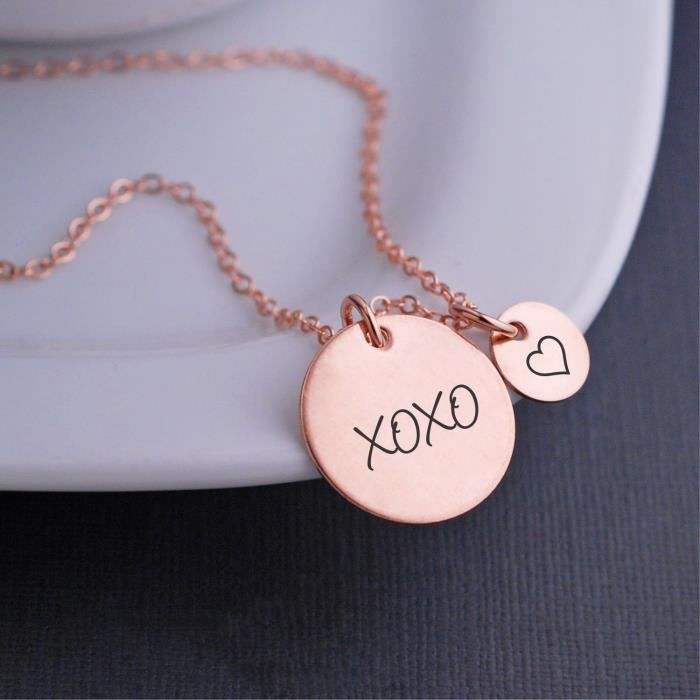Womens Rose Gold Xoxo Necklace With Heart Charm, Gift For Wife For Valentines Day YF4LG