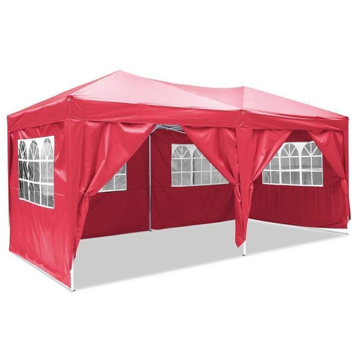 TENTE DE CAMPING Tente de réception pliante 3 x 6m de polyester Rou