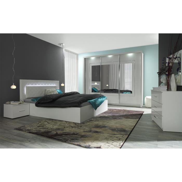 lit design avec led 2 chevets panarea achat vente. Black Bedroom Furniture Sets. Home Design Ideas