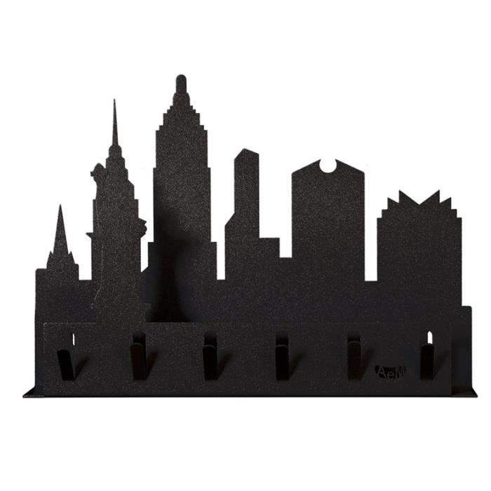 Porte cl s mural en m tal mod le new york noir achat for Decoration porte new york