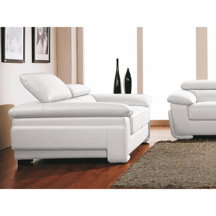 canap cuir 2 places sena blanc achat vente canap. Black Bedroom Furniture Sets. Home Design Ideas