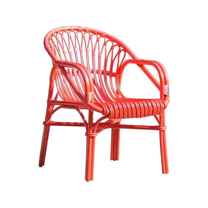 rotin P Fauteuil cm laqué moderne coloris en 74x57 rouge 0P8Owkn