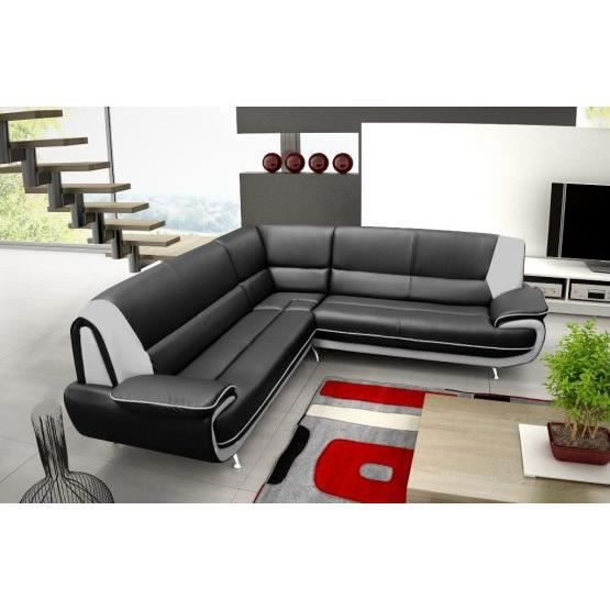 canap d 39 angle jenna xxl reversible noir gris achat. Black Bedroom Furniture Sets. Home Design Ideas