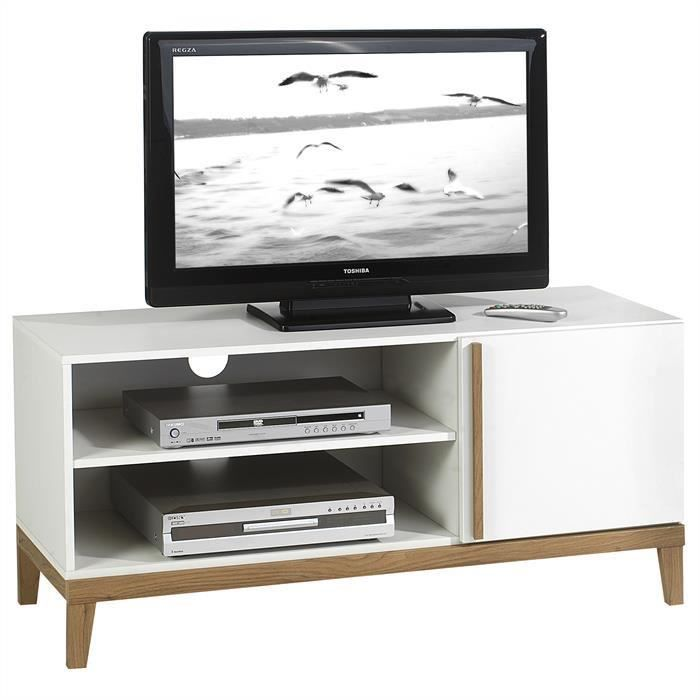 meuble banc tv vintage riga mdf blanc et bois achat vente meuble tv meuble banc tv vintage. Black Bedroom Furniture Sets. Home Design Ideas