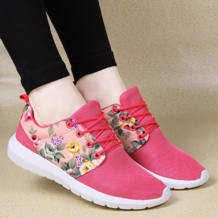 Low Chaussures Rose Mesh Top Imprimer Baskets Femme Respirant Vif Casual Fleur gYf6yv7b