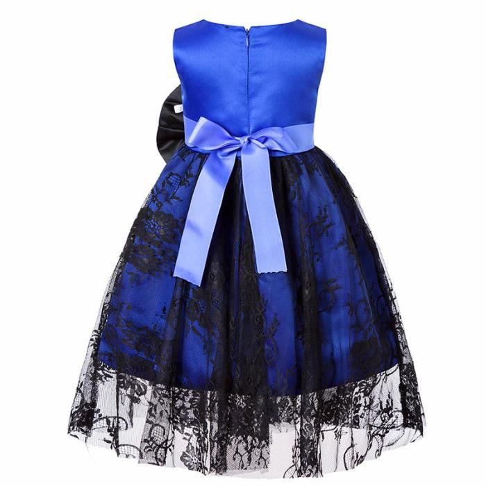 Robe enfant de princesse gilet en Dentelle Nœud papillon Mode élégante slim fit Bleu SIMPLE FLAVOR