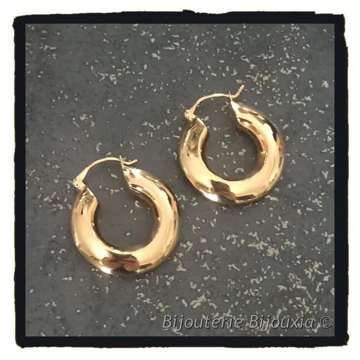 Boucles D/'oreilles Créoles Tubes 3cm Plaqué Or 18 Carats Bijoux Femme