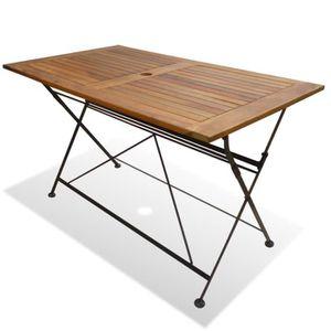 SALON DE JARDIN  Table pliable de jardin Bois d'acacia 120 x 70 x 7
