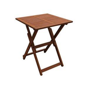 SALON DE JARDIN  Table carée pliante 60 x 60 x 74 - Marron clair