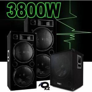 PACK SONO PACK SONO DJ AMPLIFIÉ 3800W avec 2 ENCEINTES 1500w