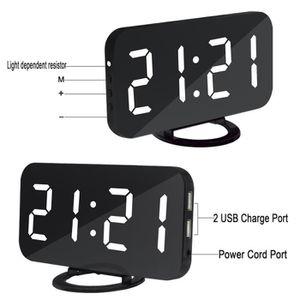Radio réveil Réveil numérique de Miroir LED pour Snooze de cont