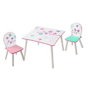 TABLE ET CHAISE Ensemble table et 2 chaises enfants en bois colori