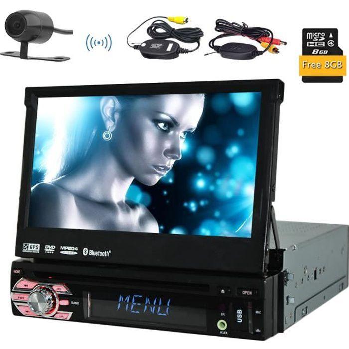 Caméra sans fil inclus! Eincar simple DIN GPS voiture DVD Lecteur CD Autoradio Support SD - USB - AUX - iPod Bluetooth Connexion 7