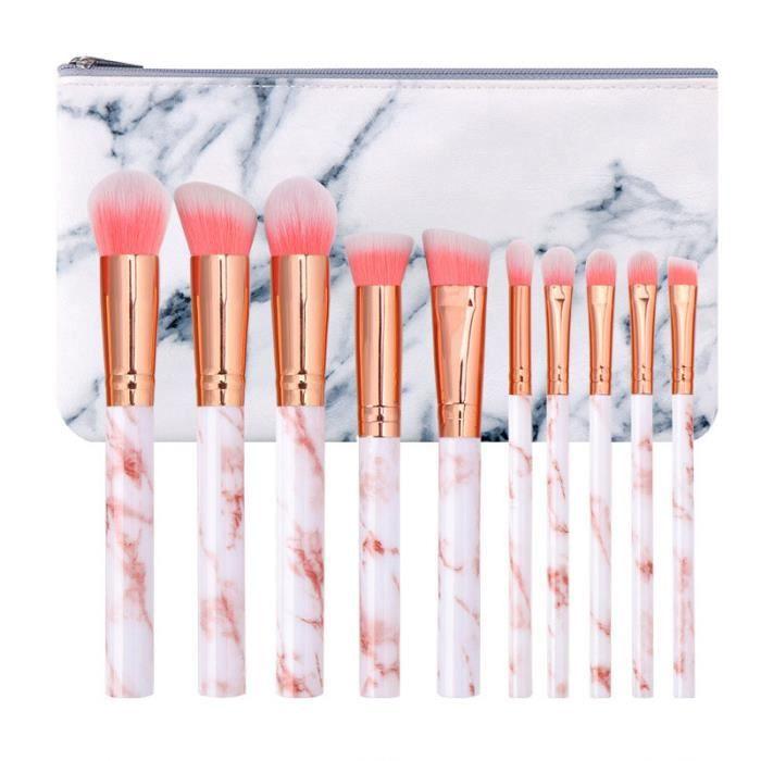 10 pièces Marbre Motif Lot de pinceaux de maquillage Fond de teint Blush poudre Fard à paupières Estompeur Cosmétique Brosse kit par