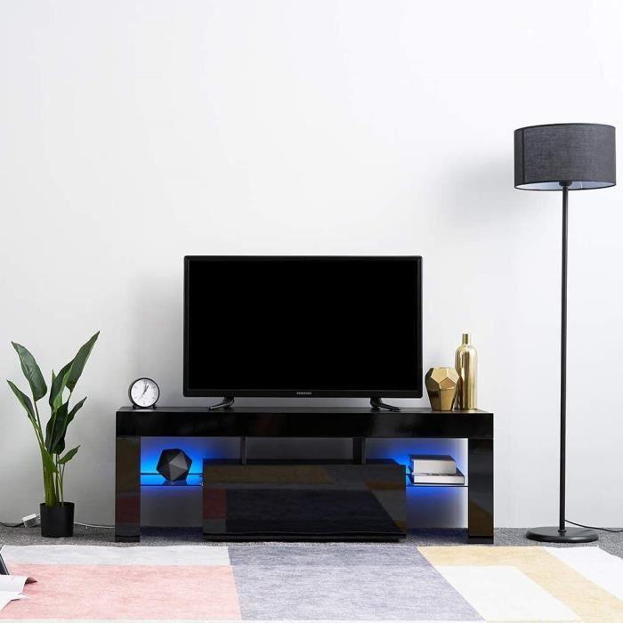 NOIR Meuble TV contemporain avec éclairage LED laqué blanc - L 130 cm Mobilier de salon