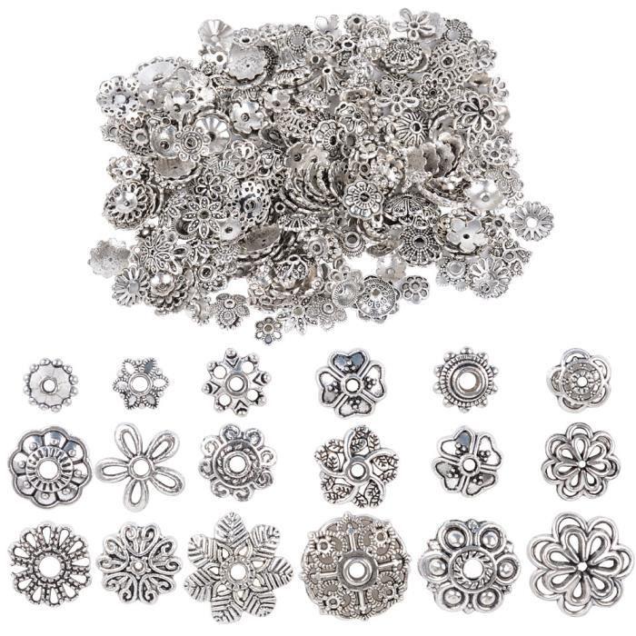 100g 6-10mm Coupelle Perle Argent Antique Tibétain Métal Calottes Fleur Caps Chapeaux de Perles Intercalaires Cônes Mixte