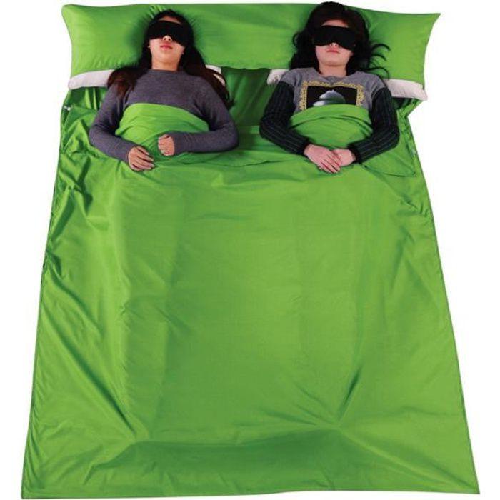 Sac de couchage pour 2 personne Camping Randonnée Vert