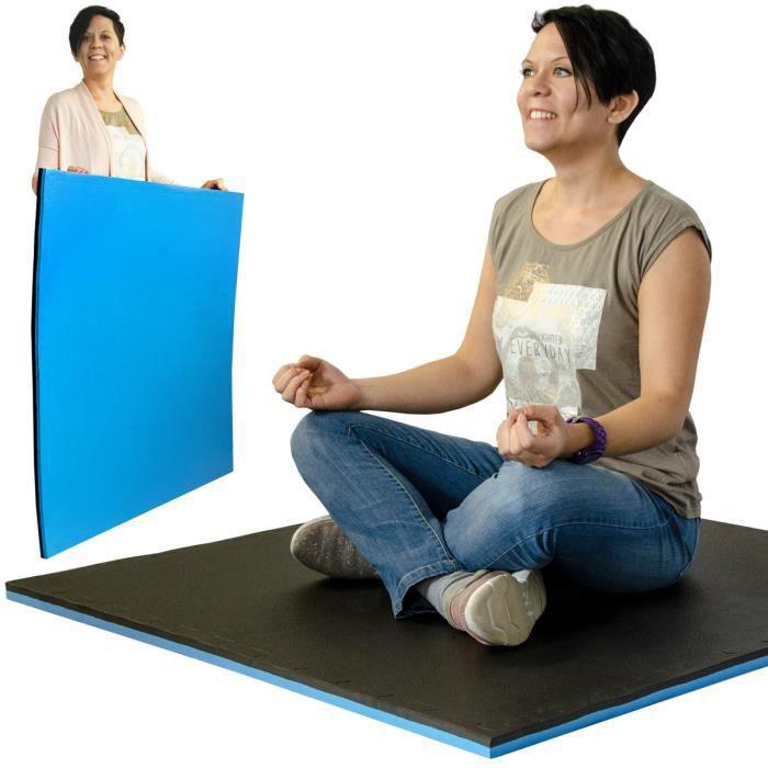 Tapis Puzzle en mousse EVA 1x1m + cadre - infiniment extensible avec d'autres tapis - epaisseur 25mm - pour sport yoga - 2 couleurs
