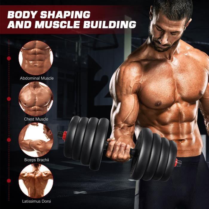 Haltères Ensemble D'haltères Musculation Réglable en Fonte de 30 kg
