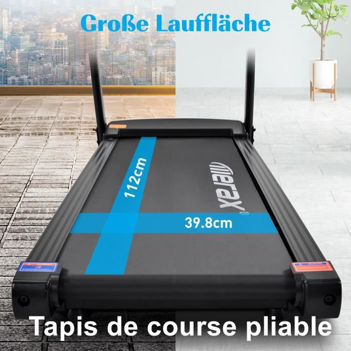Tapis de course pliable avec affichage LED - 1-12 km-h - 12 programmes avec tablette et porte-bouteille (noir)