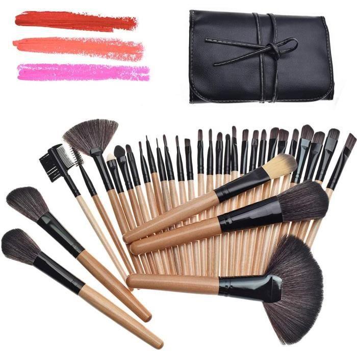 Ensemble de pinceaux de maquillage 32 pièces et étui en similicuir, avec pinceaux pour fard à paupières / estompeurs / eyeliner