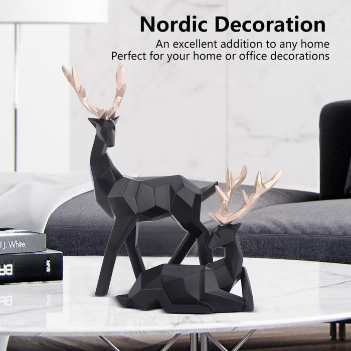 Renne Figurine Sculpture Famille Wapiti Style Nordique Statue Figurines à Collectionner Décor à La Maison(S Noir) HB014