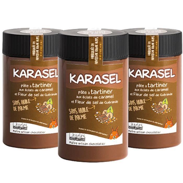 Lot de 3 pots pâtes à tartiner chocolat lait noisettes et caramel au beurre salé Karasel - 3x280 g