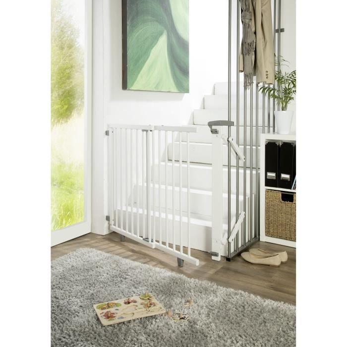 Barrière d'escalier pivotante en bois 67 cm - 107 cm Weiß