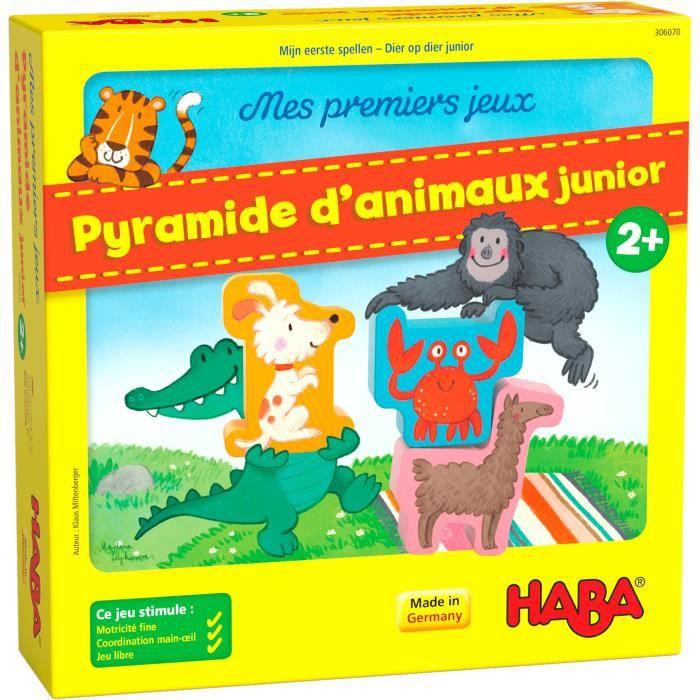 HABA - Mes premiers jeux - Pyramide d'Animaux Junior - Jeu d'adresse - 2 ans et plus, 306070