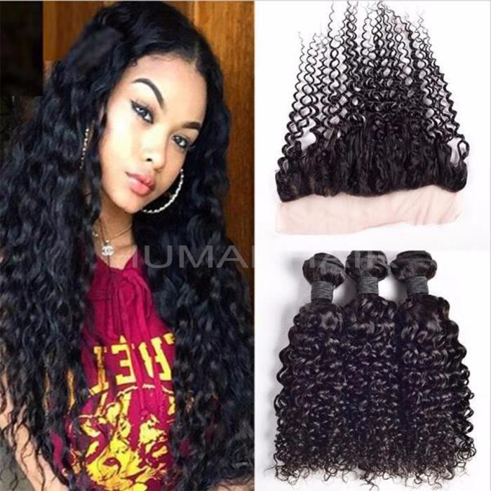 8 10 12 pouces tissage bresilien avec closure 8 pouces curly cheveux naturel