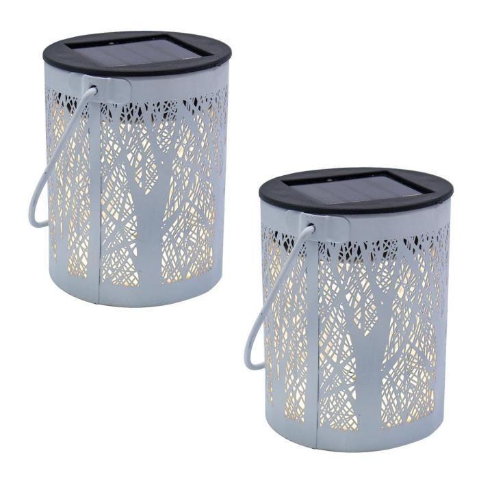 Lot de 2 lanternes solaires blanches métal ombre arbre forêt jeu de lumière LED blanc chaud FOREST H18cm