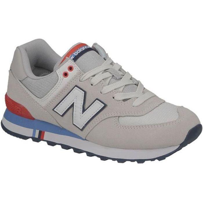 Basket homme New Balance ML574 NCR gris, bleu et rouge.