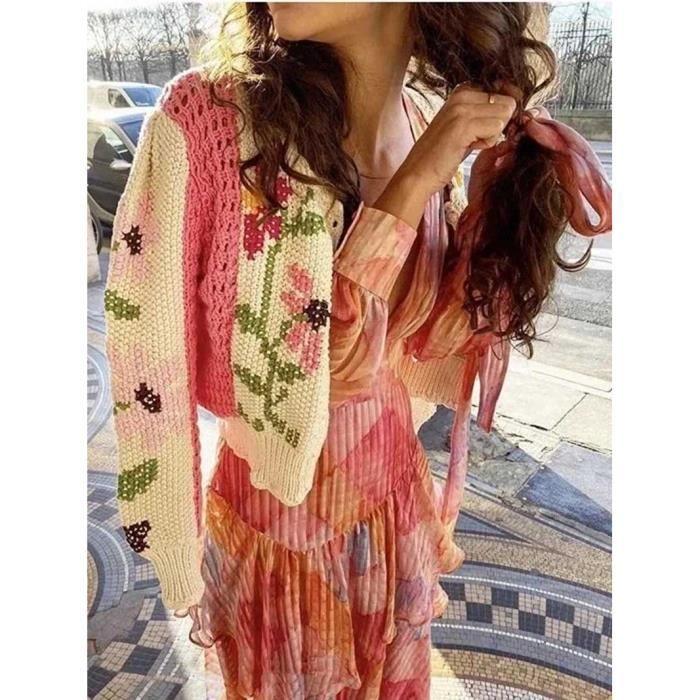 PULL,Cardigan d'inspiration Boho floral pour femme, crocheté, manches longues, mignon cardigan rose, pull en tricot, cardigan hiver