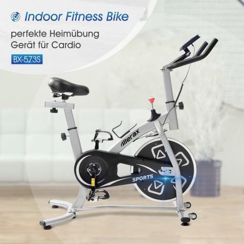 Vélo d'appartement, vélo d'intérieur avec console LCD, coussin de siège confortable pour l'entraînement cardio, noir-argent