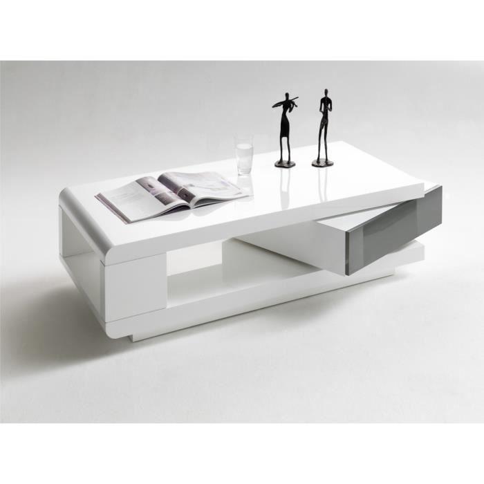 Table basse pivotant coloris Blanc laque brillant et Gris - L120 x H36 x P60 cm