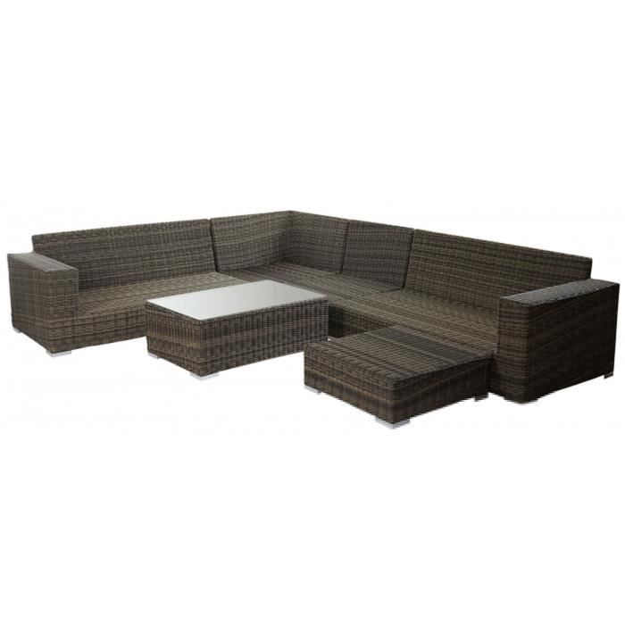 Salon de jardin en polyrotin et aluminium avec Coussin 100% polyester