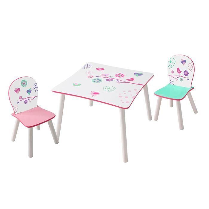 Ensemble table et 2 chaises enfants en bois coloris blanc motif fleurs