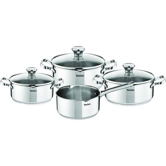 TEFAL Duetto Batterie de cuisine 7 pièces Inox Tous feux dont induction A705A835