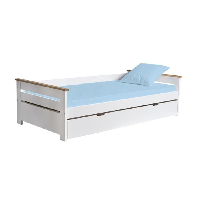 Lit gigogne couchage Blanc 90*190 cm - MATIS - L 199 x l 105 x H 62