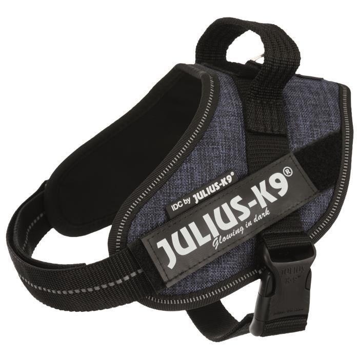 JULIUS K9 Harnais Power IDC Mini–M : 49–67 cm - 22 mm - Bleu jean - Pour chien
