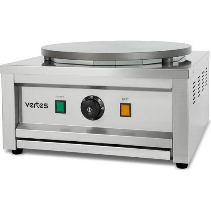 vertes Crêpière avec distributeur en bois (3000 watts, plaque chauffante de 1x 40 cm, revêtement anti-adhésif, température réglable