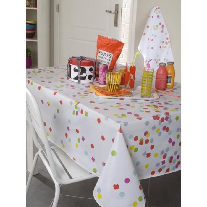 nappe en toile cir e ronde 180 cm confetti multcolore. Black Bedroom Furniture Sets. Home Design Ideas